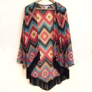 6d07636ead1 American Rag Colorful Aztec Print Fringed Kimono